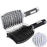 ETSAMOR 2pcs Boar Bristle Hair Brush Professional Detangler Hair Brush Set with Flexible Cushion Base for Women Long, Thick, Thin, Curly & Tangled Hair Vent Brush