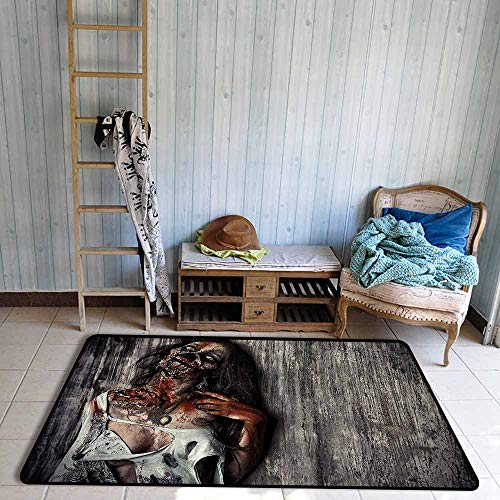 Children's Rugs Playrug Rugs Zombie Angry Dead Woman Sacrifice Fantasy Design Mystic Night Halloween Image Anti-Fading W47 xL59 Dark Taupe Peach Red -