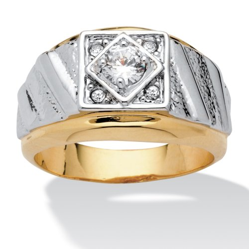 PalmBeach Jewelry Men's Round Crystal 14k Yellow Gold-Plated Two-Tone Textured Ring