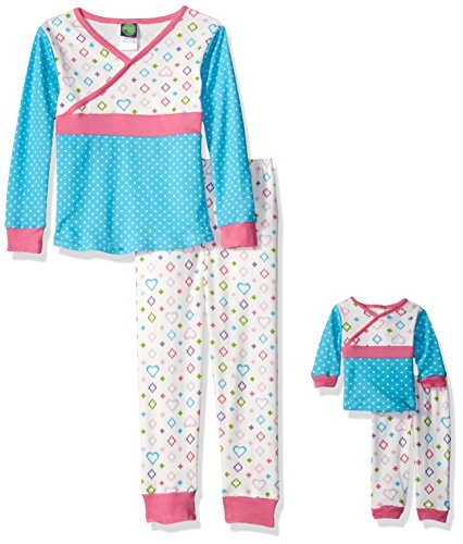 Dollie & Me Little Girls' Polka Dot and Heart Printed Snugfit Sleepwear Set, Ivory/Turquoise, 5 -