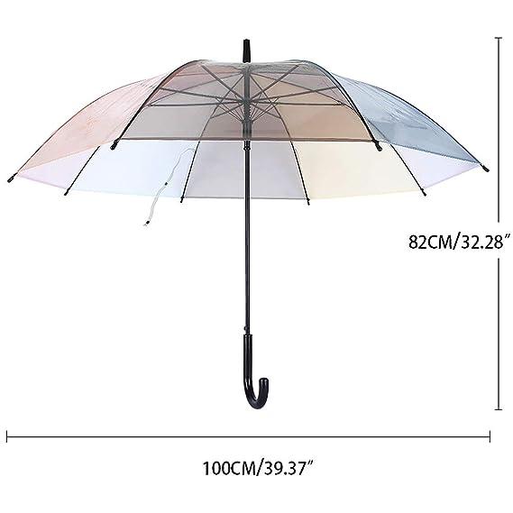 Lonior Paraguas Clásico Transparente para Mujer Apertura Automática Color del Arco Iris 100% Dinero Garantía de Devolución: Amazon.es: Equipaje