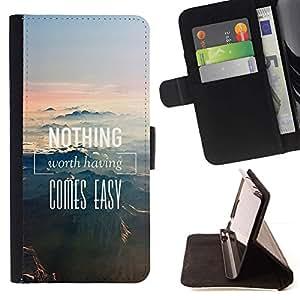 Momo Phone Case / Flip Funda de Cuero Case Cover - Nada es fácil Monta?as - HTC One M9