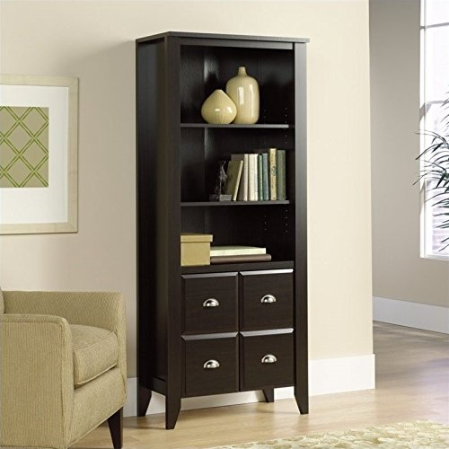 Sauder 408739 Shoal Creek Library with Doors, L: 28.43'' x W: 14.49'' x H: 68.86'', Jamocha Wood finish by Sauder