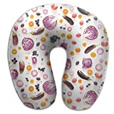BRECKSUCH Vegan Diet Feature Pattern Print U Type Pillow Memory Foam Neck Pillow For Travel And Relief Neck Pain Comfortable Super Soft Cervical Pillows With Resilient Material Relex Pollow