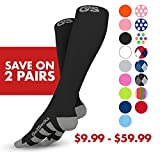 Go2Socks GO2 Compression Socks for Men Women Nurses Runners 20-30 mmHg (high) - Medical Stocking Maternity Travel - Bet Performance Recovery Circulation Stamina - (2Black,S)