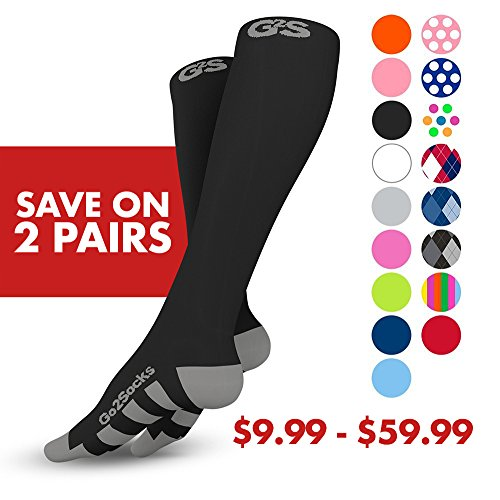 Go2Socks GO2 Compression Socks for Men Women Nurses Runners 20-30 mmHg (high) - Medical Stocking Maternity Travel - Bet Performance Recovery Circulation Stamina - (2Black,S) by Go2Socks