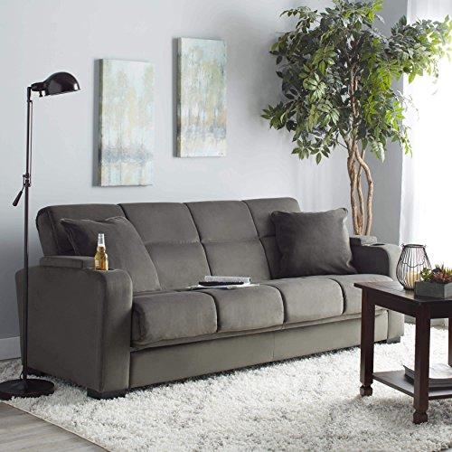Clay Alder Home Klingle Grey Velvet Convert-a-Couch Futon Sofa Sleeper (Alder Sofa)