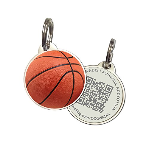 PetDwelling Basketball QR Code Pet ID Tag w/Online Pet Profile/Scanned GPS Location
