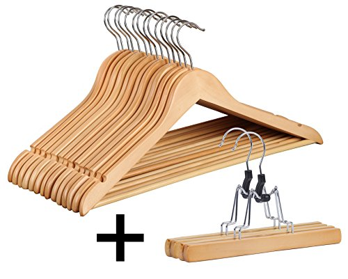 Finnhomy 20 Pack Wooden Hangers - Solid Wood Suit Coat Hangers - Sturdy Clothes Hangers with Non-slip Hanging Bar and Extra Skirt Hangers, Natural