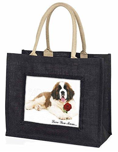 Advanta ST BERNARD mit Rose Love You Mum Große Einkaufstasche/Weihnachtsgeschenk, Jute, schwarz, 42x 34,5x 2cm