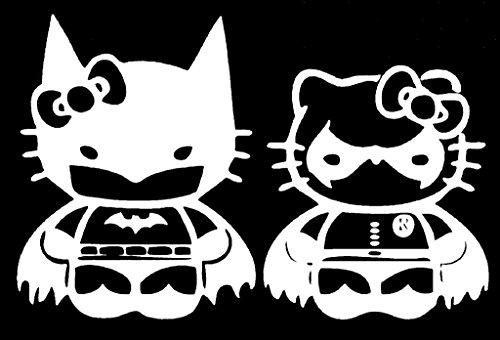 Hello Kitty Batman and Robin Vinyl Decal Sticker|Car Truck Van Wall Laptop|WHITE|5.25 In|KCD675 (Batman Beyond Car Seat Covers compare prices)
