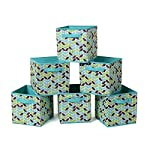 LNHOMY Square Fabric Toy Storage Bins Basket Canvas Cube Foldable Organizer with Handle Collapsible for Home Nursery Kid's Toy, Laundry,Shelf Basket, Closet, Letter (13″x13″x13″)