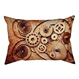 iPrint Polyester Throw Pillow Cushion Cover,Copper,Mechanical Clocks Details Old Rusty Look Backdrop Gears Steampunk Design Decorative,Dark Orange Peach,Decorative Square Accent Pillow Case