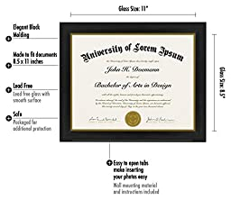 Document Frame - Made to Display Certificates 8.5x11 Inch - Document Frames, Certificate Frames, Standard Paper Frame