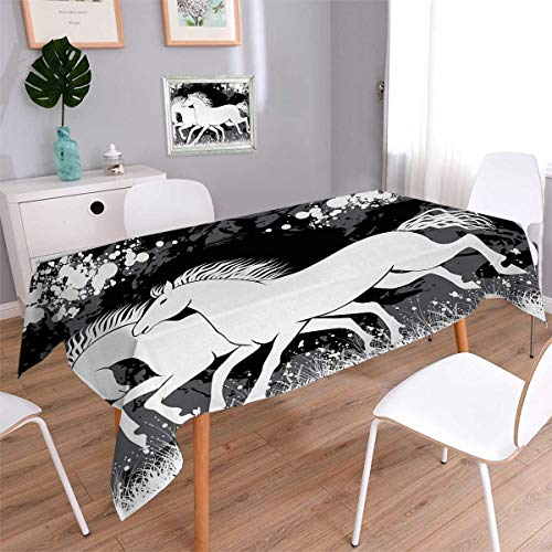 Modern Rectangle Rectangular Tablecloth Antique Roman Time Gladiator Two Race Horses with Paint Marks Image Print Oblong Wrinkle Resistant Tablecloth Black White Grey Size: W52