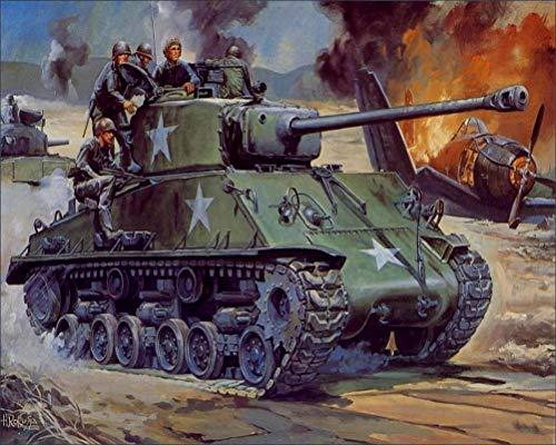 Military Painting Art Tanks M4 Sherman M4A3E8 Wall Art, Pop Art, Poster, Art Prints | Rare Posters