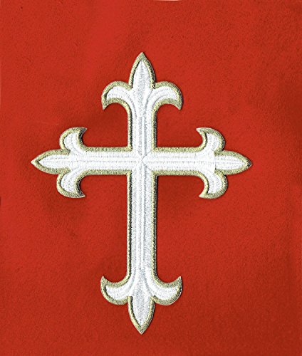 1 Pc of Fleur Cross White W/Gold-Liturgical-Vestment-Embroidered Iron On Symbol (Cross Vestment)