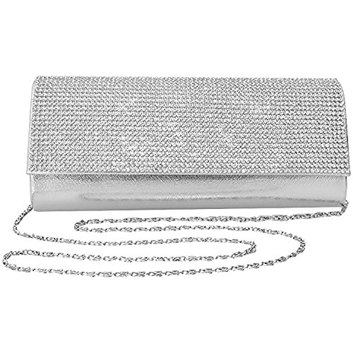 Black Silver Crystal Bride Evening Wiwsi Prom Handbag Party Purse Diamante Clutch Wedding p6gw1