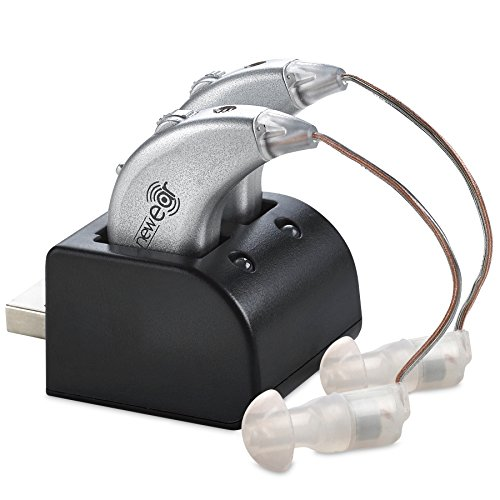 Digital Hearing Amplifiers - Rechargeable BTE Personal Sound Amplifier Pair with USB Dock - Premium Behind the Ear Sound Amplification - By NewEar (Best Hearing Aids On The Market)