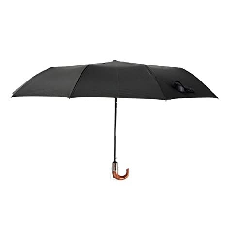 HQdeal Paraguas Plegable Negro Automatico Antiviento Grandes Paraguas de Viaje UV Sombrilla para Mujer Hombre Caballero