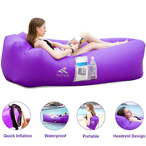 FRETREE Inflatable Lounger Air Sofa Hammock - Portable Anti-Air Leaking & Waterproof Pouch Couch and Beach Chair Camping Accessories for Parties, Travel, Camping, Picnics, Pool, Large, Purple ()