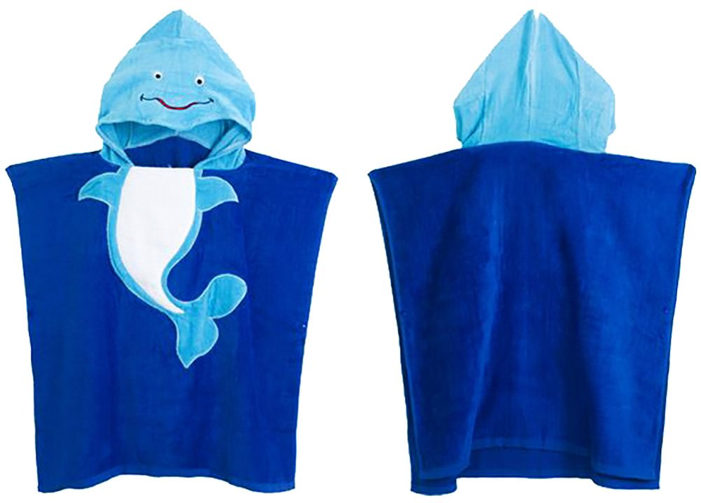 TOKYO-T Kids Bath Beach Towel Hooded Animal Poncho/Boys and Girls (Dolphin) 350 GSM
