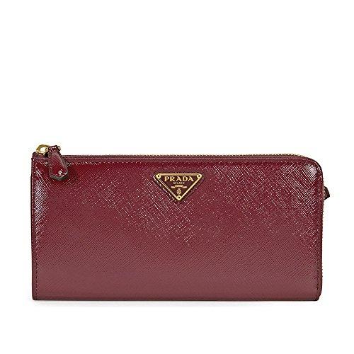 Prada Vernice Saffiano Leather Wallet - Cerise