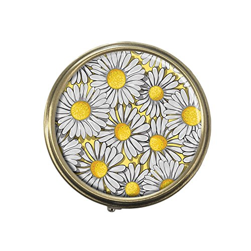 White daisys Custom Fashion Bronze Tone Round Pill Box Medicine Tablet Holder Wallet Organizer Case for Pocket or Purse
