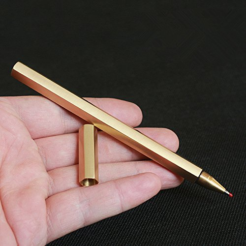 - Cevinee™ Special Anti-roll Handmade Brass Pen, Solid Portable EDC Pocket Pen, Unique Polished Metal Sign Signature Pen Gel Pen, Christmas Gift Pen