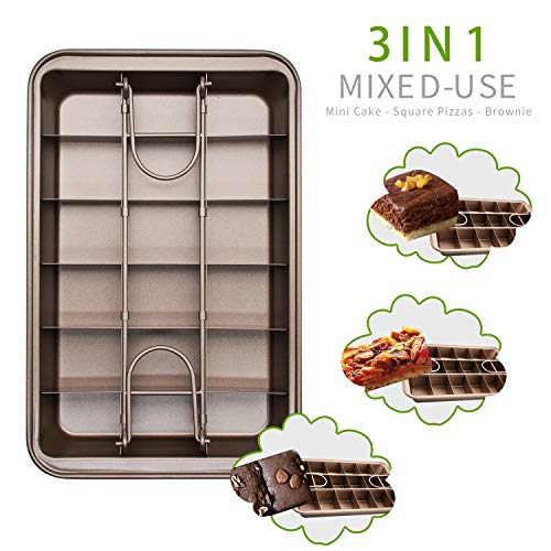 Non Stick Brownie Pans with Dividers Baking Pan with Built-in Slicer-Making Cake Make of High Carbon Steel Size 12 x 8 x 2 in
