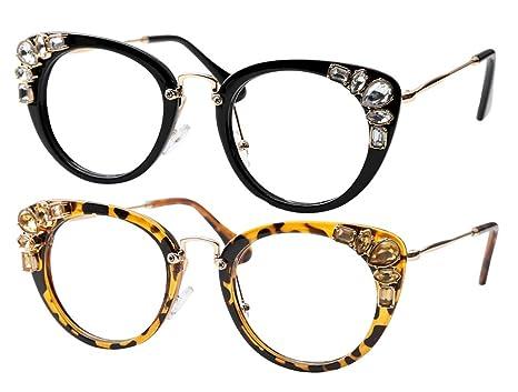 f2683a5793627 SOOLALA Womens Luxurious Colorful Rhinestone Cateye Reading Glasses Eyeglass  Frame