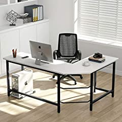 """Tribesigns L Shaped Office Desk Coner Computer Desk - Sturdy & Big Capacity 450lbs This simple design l shaped desk includes two rectangular desktops (one 49.21 inch and the other 47.24"""" in wide) and steel metal legs, which all join toget..."""