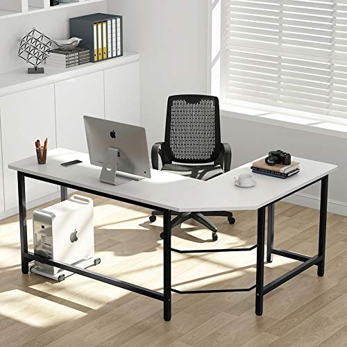Tribesigns Modern L-Shaped Desk Corner Computer Desk PC Laptop Study Table Workstation Home Office, Wood & Metal (White + Black ()