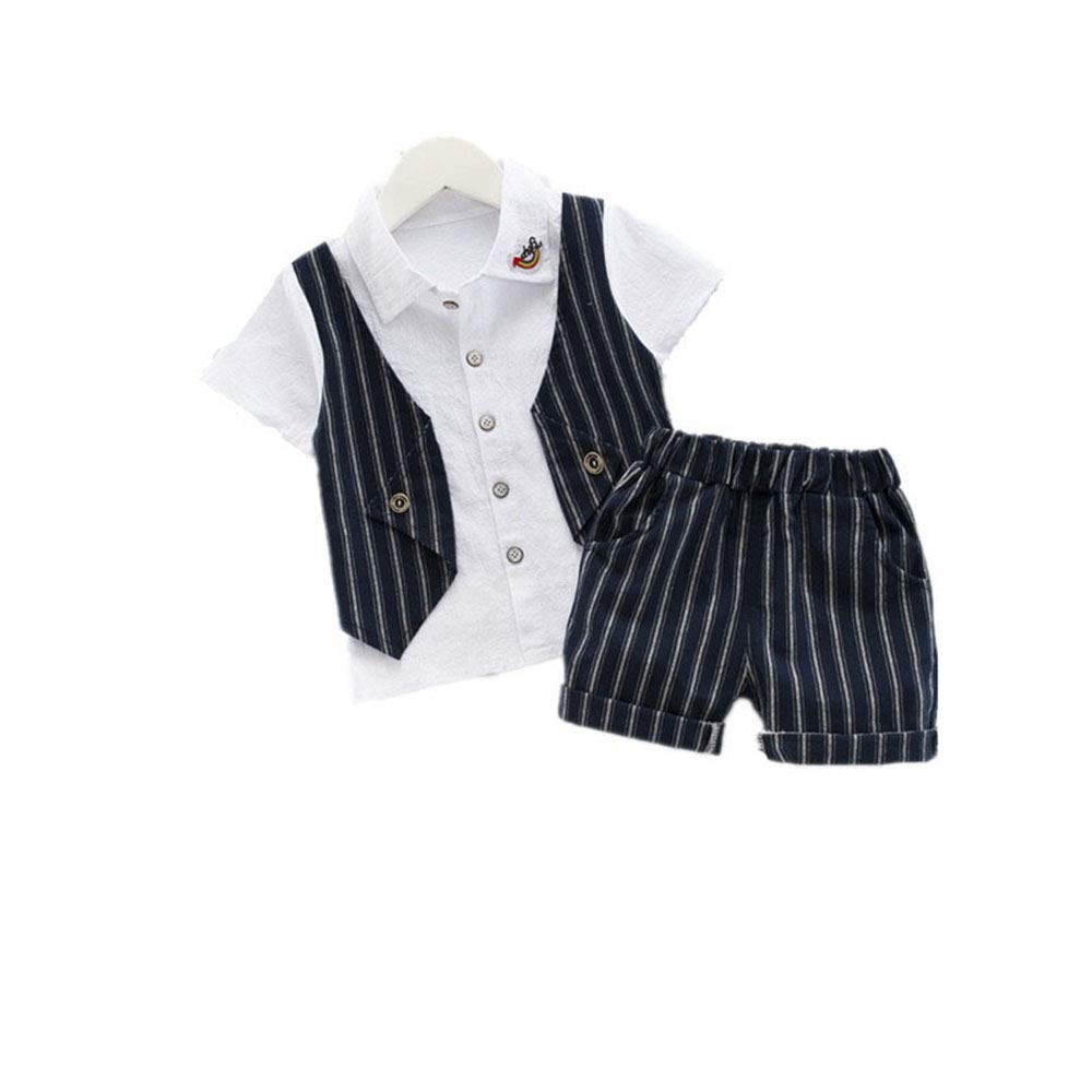 Fashion Boys Summer Clothing Formal Gentleman Prom Party Clothing Cotton 2pcs Tops+Shorts Children Tracksuits