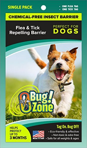 0Bug!Zone Flea and Tick Barrier Tag for Dogs, Single Tag by 0Bug!Zone