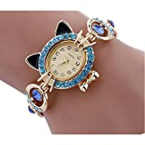 MINILUJIA Ladies Wrist Watch Blue Artificial Crystal Inlay Cat Bracelet Watch Gold Plated Dial