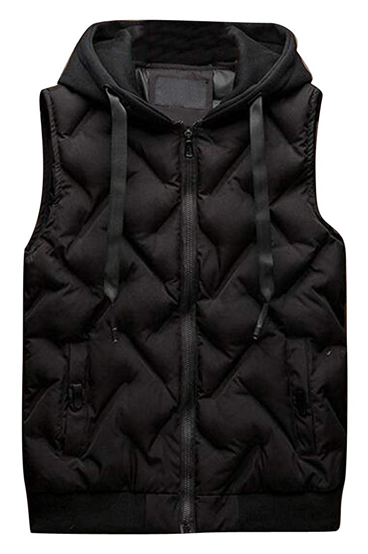 Fensajomon Mens Hooded Sleeveless Fall Winter Warm Zip Front Down Quilted Waistcoat Vest Jacket