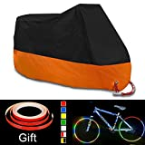Harley Cover, Enk Heavy Duty XXL Large Motorcycle Cover, 104 Inch Waterproof Outdoor Storage Sun Motorcycle Cover Fits For Harley, Honda, Yamaha and Suzuki. (XXL 104 INCH, Black+Orange)