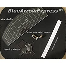 BlueArrowExpress Free Motion Ruler Quilting Foot Set High Shank Fits Janome 1600P, Brother PQ 1500, Pfaff Grand Quilter, Husqvarna Mega Quilter
