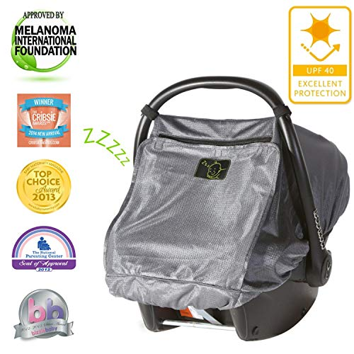 SnoozeShade Baby Car Seat Canopy Deluxe | Blocks 97.5% of UV with 360 Degree Protection | Unisex Baby Car Seat Cover