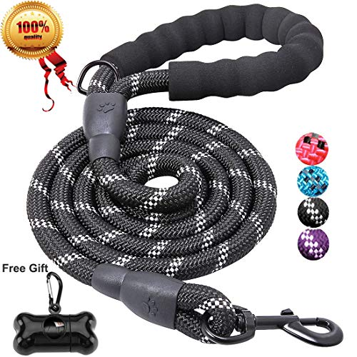 JBYAMUS Strong Dog Leash with Comfortable Padded Handle and Highly Reflective Threads for Medium and Large Dogs, Black, 5'