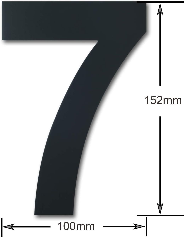 Nummer 1 schwebende Erscheinung Geb/ürsteter moderner Edelstahl Hausnummer-152mm hoch-schwarze Beschichtung