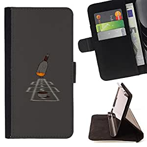 BullDog Case - FOR/Sony Xperia Z1 Compact D5503 / - / hopscotch game alcohol bottle art painting /- Monedero de cuero de la PU Llevar cubierta de la caja con el ID Credit Card Slots Flip funda de cuer