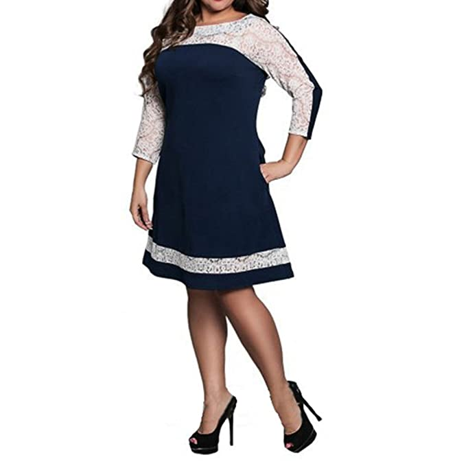 Three Quarter Lace Elegant Dress Big Sizes 2017 Women Summer Autumn Plus Size Dress Casual Loose