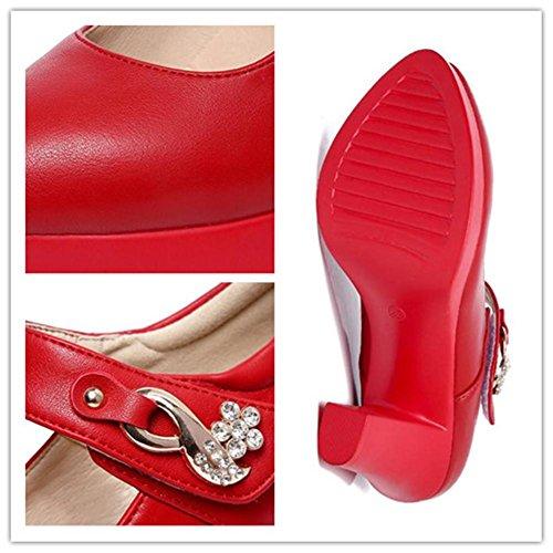 Jane O Cuero De Tacn Oficina Velcro Tama Corte Trabajo 8cm Mary A 36 43 Bomba Plataforma Zapatos Red Formal Mujer nbsp;correa Cierre Bloquear YTEdwwq