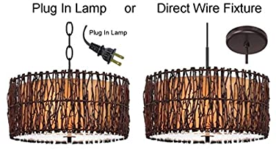 """PLUG IN or DIRECT WIRE - Tree Wood Twig Drum Swag Lamp Pendant Light Rustic Country Lodge Chandelier Fixture Cylinder Barrel 18""""W"""