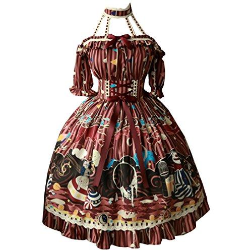 Lolita Kleid Partiss bedrucktes Zirkusmaedchen Damen suesses Burgundy Klassisch ZcPqag7rP