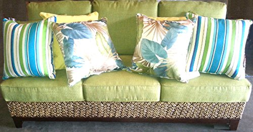 Rattan Ranch Indoor Rattan and Wicker Sofa with Tropical Fabric and Pillows