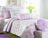 Cozy Line Home Fashions Orchid Lola Bedding Quilt Set, Floral Pink Light Purple Grey Flower Print, 100% COTTON Reversible Bedspread, Coverlet For Kids Girls (Orchid Sunflower, Full/Queen - 3 piece)