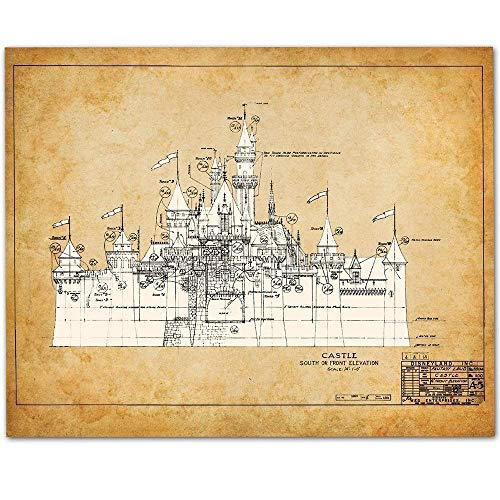 (Disneyland Castle - 11x14 Unframed Patent Print - Makes a Great Gift Under $15 for Disney)